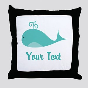 Personalizable Cute Whale Throw Pillow