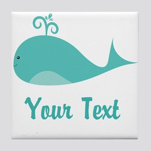 Personalizable Cute Whale Tile Coaster