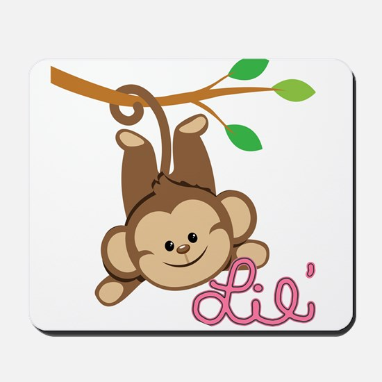 Lil Monkey Pink Girl Mousepad