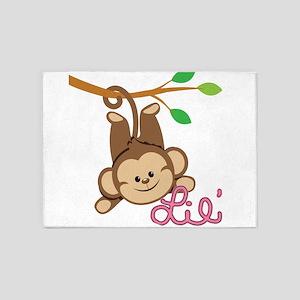 Lil Monkey Pink Girl 5'x7'Area Rug