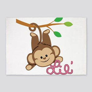 Lil Monkey Pink 5 X7 Area Rug