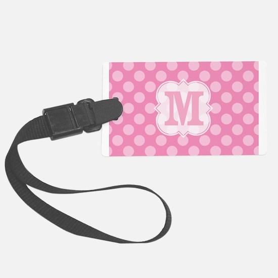 Monogram Pink Polka Dots Luggage Tag