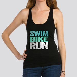 Triathlon. Swim. Bike. Run. Racerback Tank Top