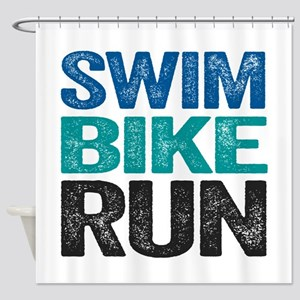 Triathlon. Swim. Bike. Run. Shower Curtain