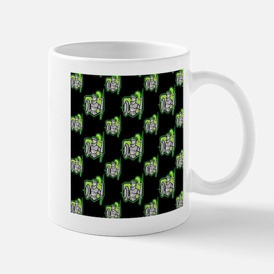 Neon Green Black Knight Pattern Mugs
