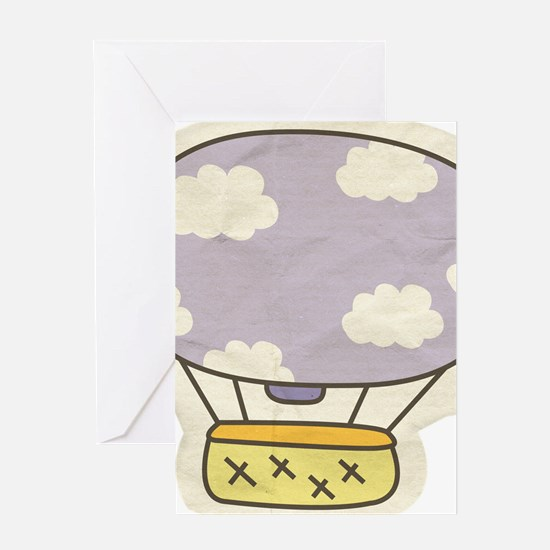 Hot Air Balloon Cartoon Illustration Greeting Card