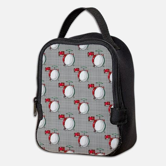 Drum Set; Red Neoprene Lunch Bag