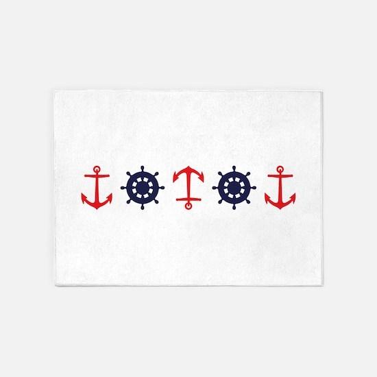 Sailing Border Anchors Ship Boat Wheels 5'x7'Area
