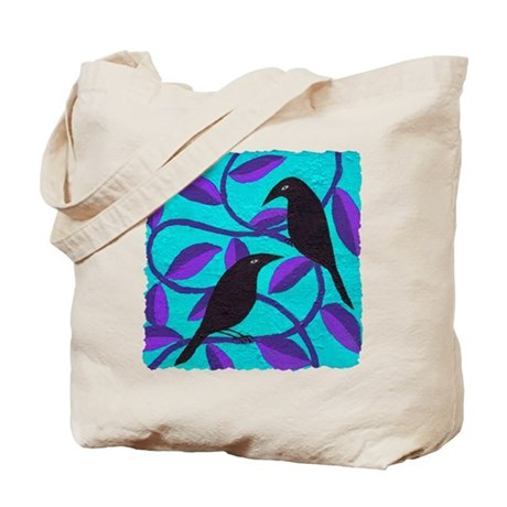 Two Crows on blue Tote Bag