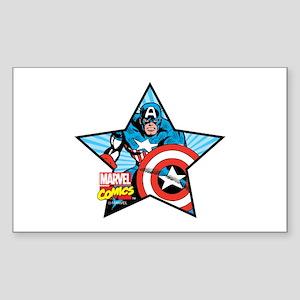 Captain America Star Sticker (Rectangle)