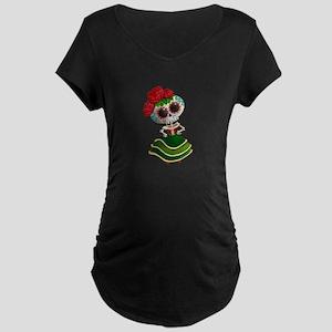 El Dia de Los Muertos Skeleton Girl Maternity T-Sh