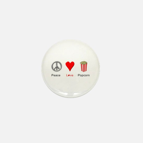 Peace Love Popcorn Mini Button