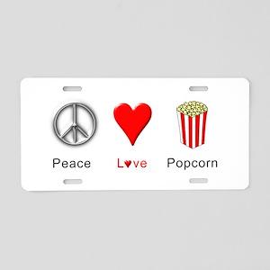 Peace Love Popcorn Aluminum License Plate