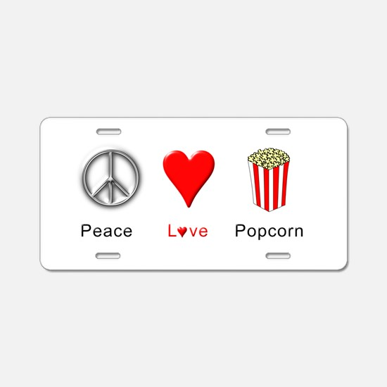 Peace Love Popcorn Aluminum License Plate