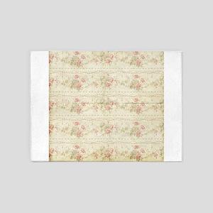 Vintage Antique Victorian Floral Rose Stripes 5'x7