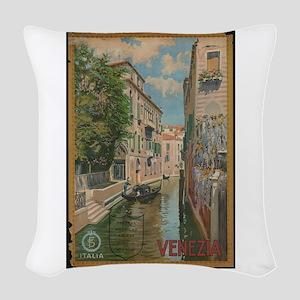 Venice Italy Vintage Art Woven Throw Pillow