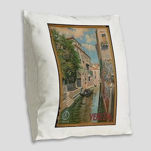 Venice Italy Vintage Art Burlap Throw Pillow