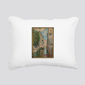 Venice Italy Vintage Art Rectangular Canvas Pillow