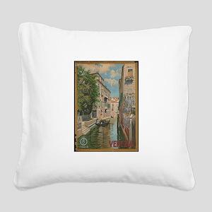 Venice Italy Vintage Art Square Canvas Pillow