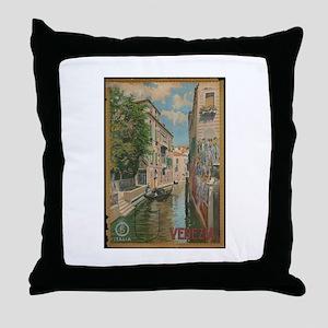 Venice Italy Vintage Art Throw Pillow