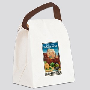 Zion National Park Vintage Art Canvas Lunch Bag