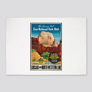 Zion National Park Vintage Art 5'x7'Area Rug