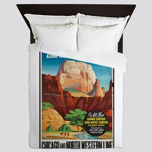 Zion National Park Vintage Art Queen Duvet