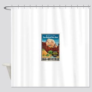 Zion National Park Vintage Art Shower Curtain