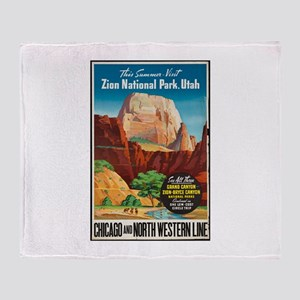 Zion National Park Vintage Art Throw Blanket