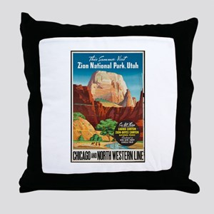 Zion National Park Vintage Art Throw Pillow