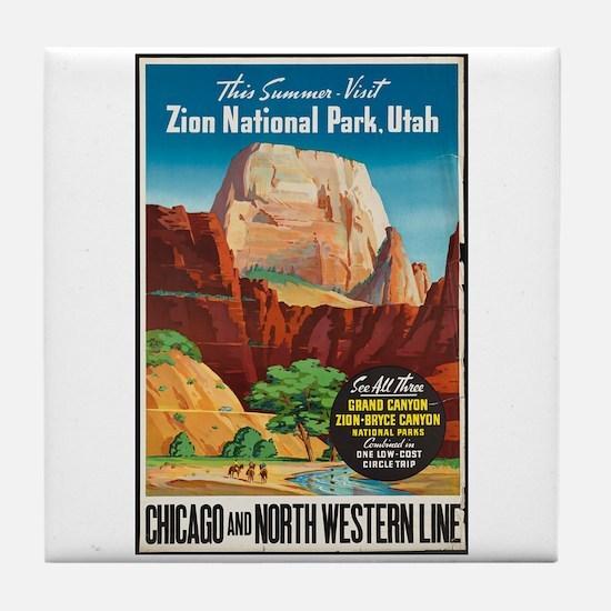 Zion National Park Vintage Art Tile Coaster