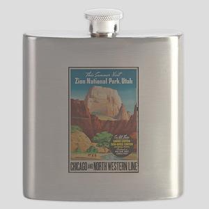 Zion National Park Vintage Art Flask