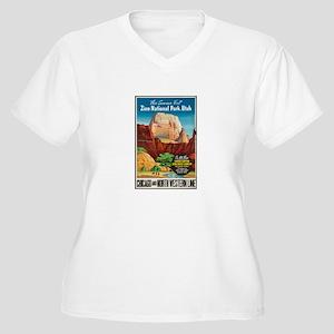 Zion National Park Vintage Art Plus Size T-Shirt