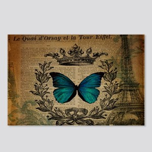 vintage paris eiffel tower butterfly jubilee Postc