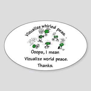 Whirled Green Peas Oval Sticker
