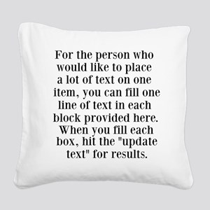 Lines of Text to Personalize Square Canvas Pillow