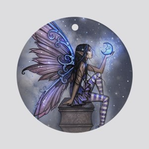 Little Blue Moon Fairy Fantasy Art Ornament (Round