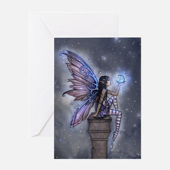 Little Blue Moon Fairy Fantasy Art Greeting Cards