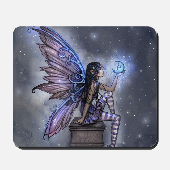 Little Blue Moon Fairy Fantasy Art Mousepad