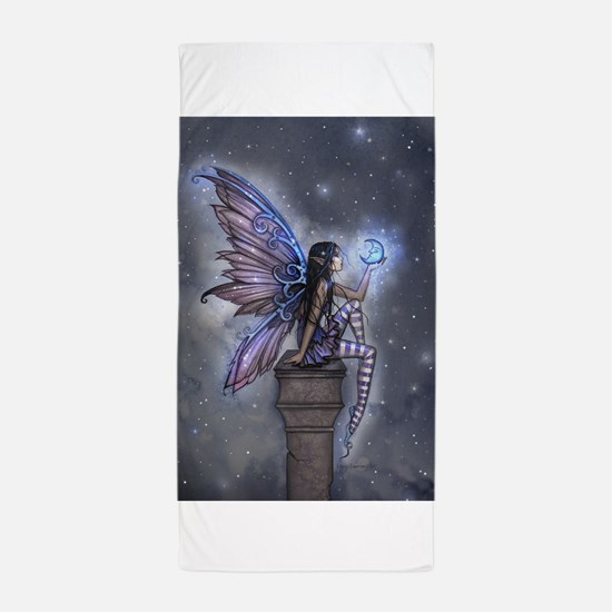 Little Blue Moon Fairy Fantasy Art Beach Towel