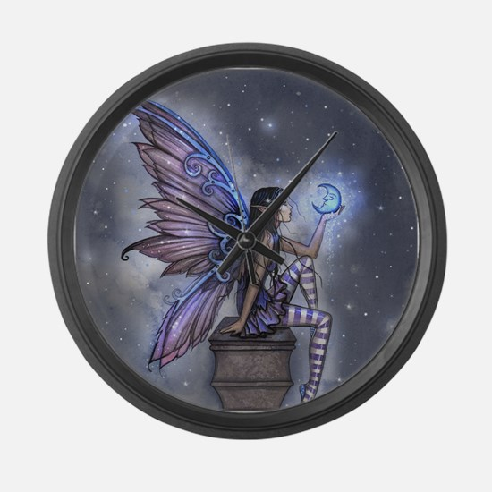 Little Blue Moon Fairy Fantasy Art Large Wall Cloc