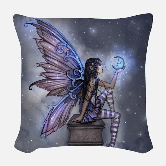 Little Blue Moon Fairy Fantasy Art Woven Throw Pil