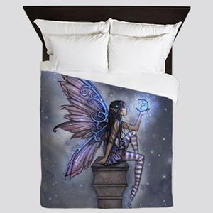 Little Blue Moon Fairy Fantasy Art Queen Duvet