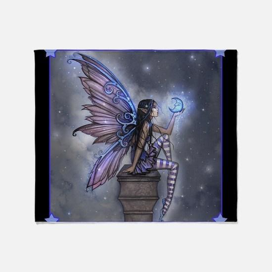 Little Blue Moon Fairy Fantasy Art Throw Blanket
