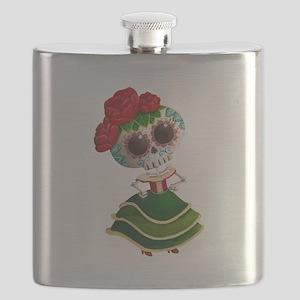 El Dia de Los Muertos Skeleton Girl Flask