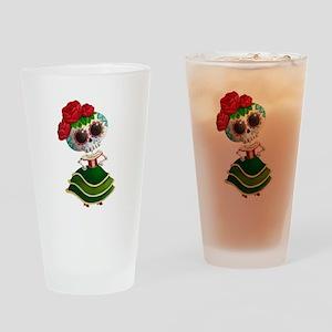 El Dia de Los Muertos Skeleton Girl Drinking Glass