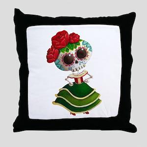 El Dia de Los Muertos Skeleton Girl Throw Pillow