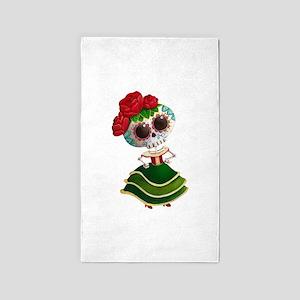 El Dia de Los Muertos Skeleton Girl 3'x5' Area Rug
