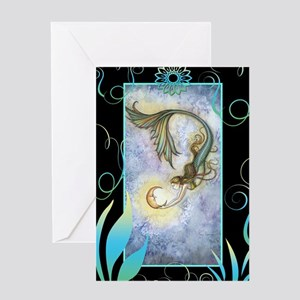 Deep Sea Moon Mermaid Fantasy Art Greeting Card