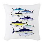 7 tuna Woven Throw Pillow